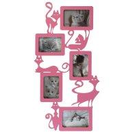 Фоторамка-коллаж кошки 5 фото розовый