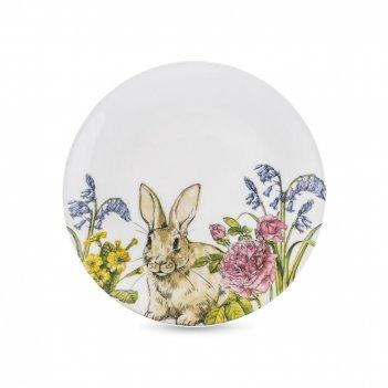 Тарелка подстановочная «кролик на лугу», диаметр: 26 см, материал: фарфор,