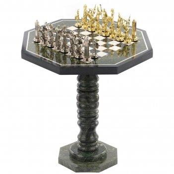 Шахматный стол фигуры греческая мифология мрамор змеевик метал