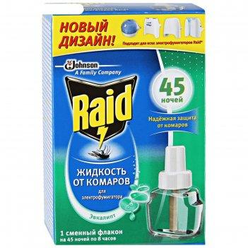 Жидкость для фумигатора raid, 45 ночей, аромат эвкалипт, 32,9 мл