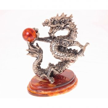 Сувенир танцующий дракон из янтаря