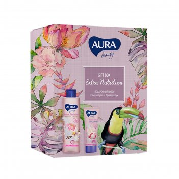 Подарочный набор aura beauty extra nutrition: крем-гель для душа 250мл+кре