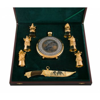 Набор охотничий утиная охота ( нож цм, фляга, 6 рюмок) златоус