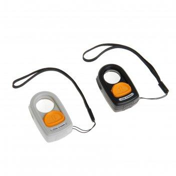 Лупа компактная х10 led, компас, петля для ношения d=21мм, микс 3,5*5,5см
