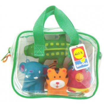 """Игрушки для ванны """"джунгли""""  4шт.в сумке"""