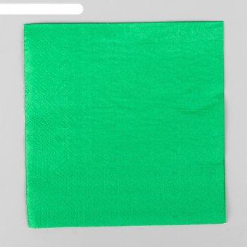 Салфетки бумажные, 25*25 см, однотонные, набор 20 шт., цвет зелёный