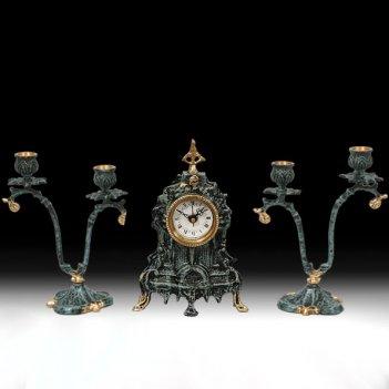 Часы настольные франк с канделябрами на 2 свечи, набор из 3 предм.