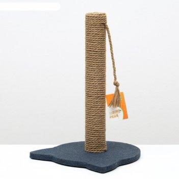Когтеточка-столбик с основанием-кошечкой пижон, 32 х 31 х 47 см, рогожка,