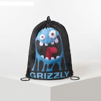 Мешок для обуви 500*380 grizzly om-94 мал чёрный/голубой