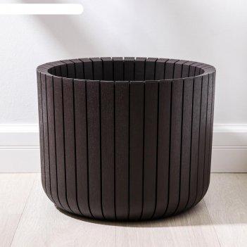Кашпо «шато», 29 л, d=38 см, цвет коричневый ротанг