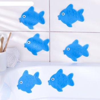 Мини-коврики для ванны рыбка, 6 шт, цвет микс