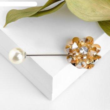 Булавка цветочная композиция, цвет золотисто-белый в серебре