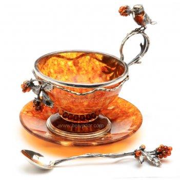 Чайный набор из янтаря малиновка на 3 персоны (ювелирная бронза)