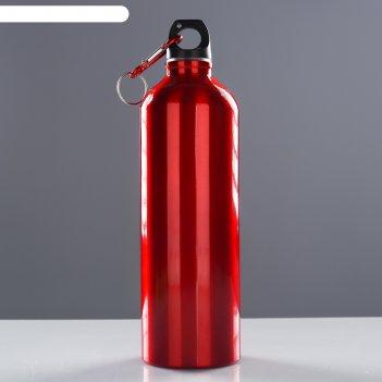 Фляжка туристическая классика с карабином, 750 мл, красная, 7х24.5 см