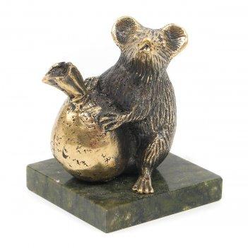 Статуэтка крыса с мешком змеевик бронза