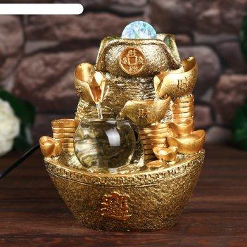 Фонтан настольный от сети, подсветка слиток золота и монеты золото 21х17х1