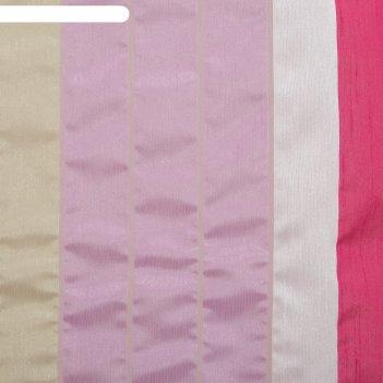 Тюль этель 140х280 гамма розовый (вертикальная полоса) б/утяжелителя, 100%