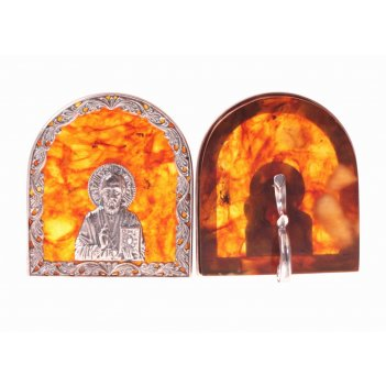 Янтарная иконка николай угодник в серебре
