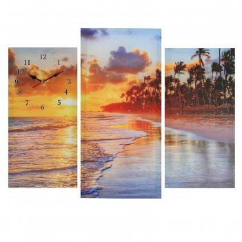 Часы настенные модульные «пальмы на закате», 60 x 80 см
