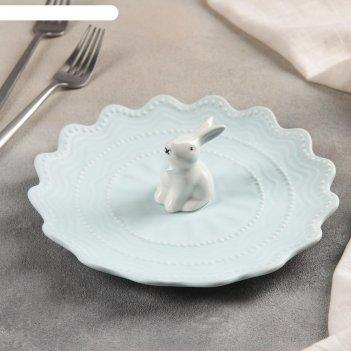 Тарелка десертная кружева кролик 21 см, цвет голубой