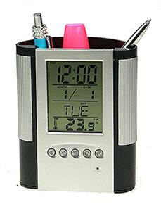 Электронная метеостанция-подставка 10*5*12см: часы, термометр, календарь,