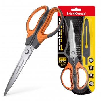 Ножницы 20.5см erichkrause protector с чехлом, серо-оранжевый 48057