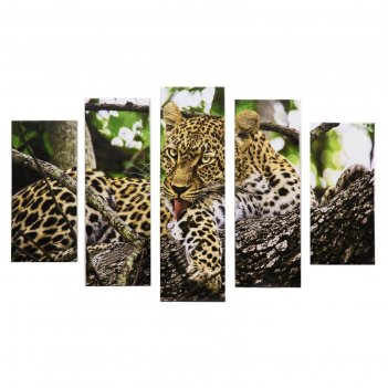 Модульная картина леопард на дереве (2-23х52; 2-24х70; 1-24х80) 120х80см