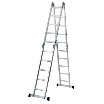 Лестница tundra алюминиевая шарнирная 4х5 ступеней