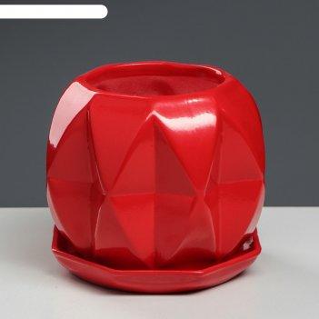 Кашпо сфера 1,5 л глазурь, красный