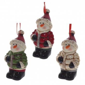 Украшение новогоднее снеговик, l5,5 w4,5 h9,8 см, 3в.