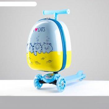 Чемодан детский, отдел на молнии, 4 колеса, с самокатом, цвет голубой