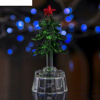 Фигурка стекло световая 10 см елочка зеленая