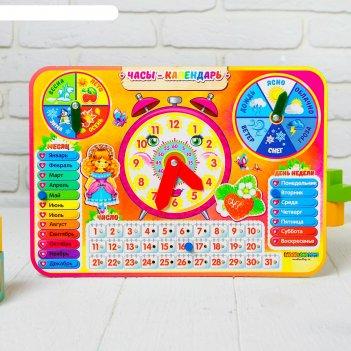 Календарь обучающий яркие часы, из дерева   094103
