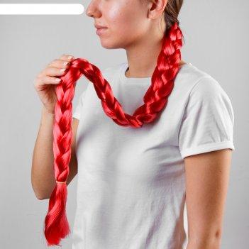 Коса на резинке 80 см, цвет красный