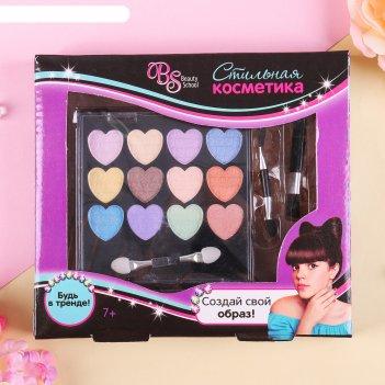 Набор косметики для девочки тени 14,4 гр, кисть, кисть-аппликатор, апплика