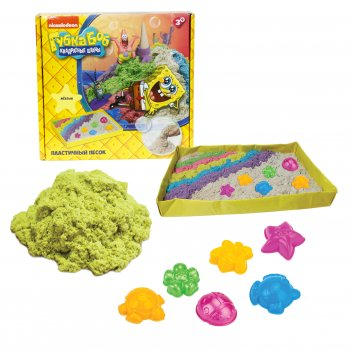 1toy губка боб, космический песок, жёлтый, 1 кг, набор песочница и формочк