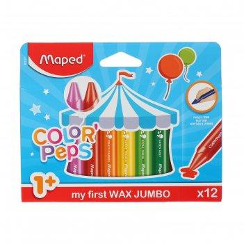 Мелки восковые 12 цветов, maped color peps, maxi, трёхгранные