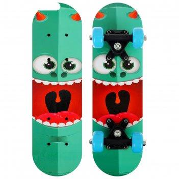 Скейтборд детский монстрик 44х14 см, колеса pvc 50 мм, пластиковая рама