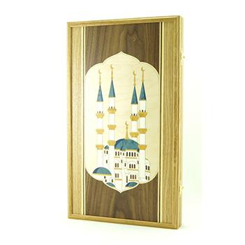 Нарды мечеть, маркетри, 50х59см
