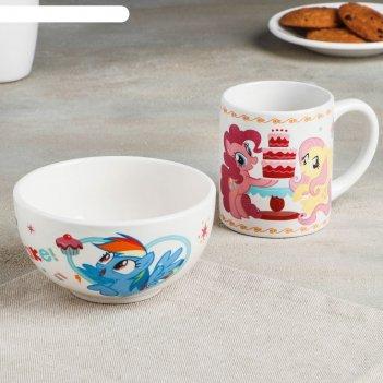 Набор посуды детский my little pony, 2 предмета: кружка 200 мл, миска 300