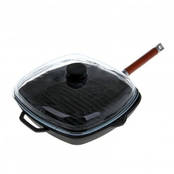 Сковорода-гриль чугунная 28х28 см, со съемной ручкой и стеклянной крышкой