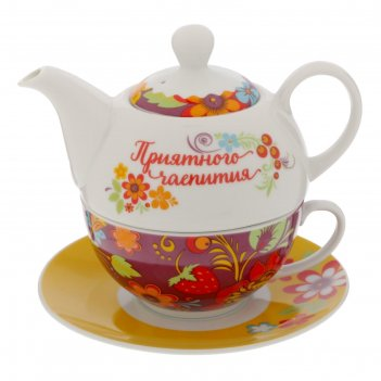 Чайный набор приятного чаепития, чайник 350 мл, кружка 200 мл, блюдце 15 с