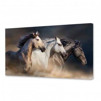 Картина на холсте лошадиная сила 50х100 см