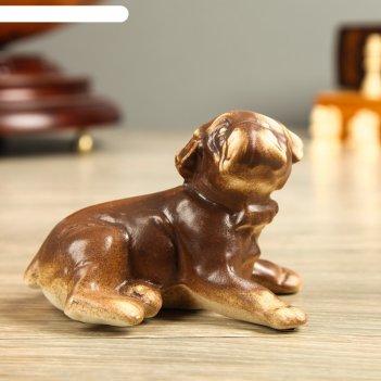 Фигура садовая собака бульдог, мини, шамот