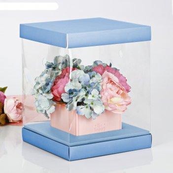 Коробка для цветов с вазой и pvc-окнами складная «счастья!», 23 x 30 x 23