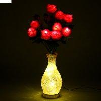 Светодиодная ваза 64х16 см, розы 10 led, от usb и 220v, фиксин, желтый