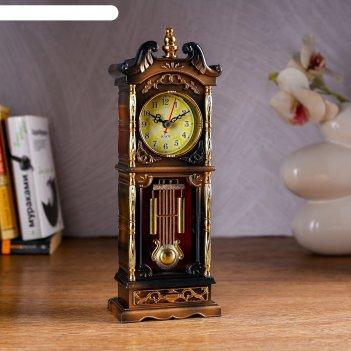 Часы настольные ажен, с маятником и колоннами, 26х8 см, микс