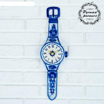 Часы настенные наручные, гжель, фарфор, 47х14 см