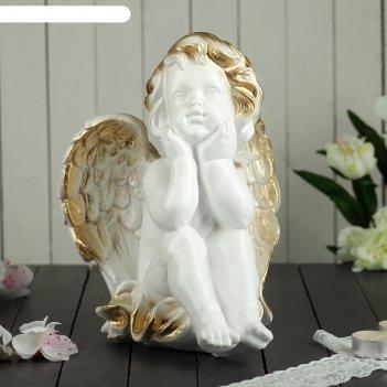 Статуэтка ангел мечтающий белая, 26 см