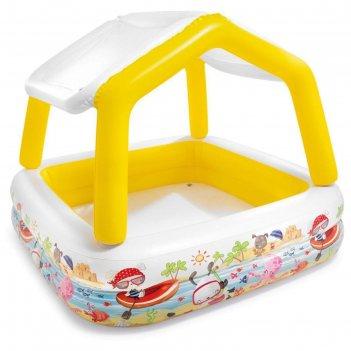 Бассейн надувной детский «домик», 157 х 157 х 122 см, с навесом, 57470np i